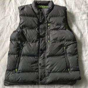 orvis // down gray + green puffer vest size medium